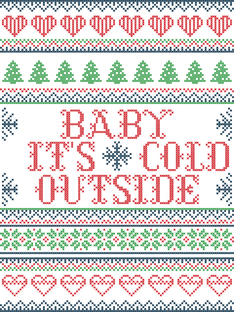 Seamless Christmas pattern Baby its cold outside  style, inspired by Norwegian Christmas, festive winter  in cross stitch with reindeer, Christmas tree, heart, snowflakes, snow, gifts in red, blue, gr