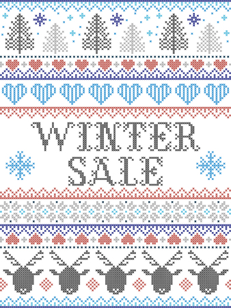 Seamless Christmas pattern Winter Sale inspired by Norwegian Christmas, festive winter  in cross stitch with reindeer, Christmas tree, heart, snowflakes, snow, in blue, red, gray