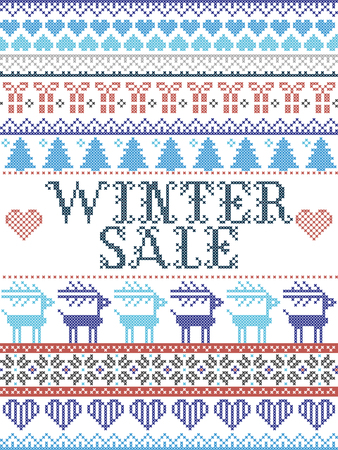 Seamless Christmas pattern Winter Sale inspired by Norwegian Christmas, festive winter  in cross stitch with reindeer, Christmas tree, heart, snowflakes, snow, gift in blue, red, gray 向量圖像