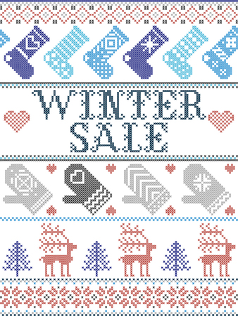 Seamless Christmas pattern Winter Sale inspired by Norwegian Christmas, festive winter  in cross stitch with reindeer, Christmas tree, heart, snowflakes, snow,stockings, mittens in blue, red, gray 向量圖像