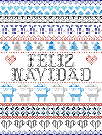 Seamless Christmas pattern Feliz Navidad Scandinavian style, inspired by Norwegian Christmas, festive winter pattern in cross stitch with reindeer, Christmas tree, heart, snowflakes, snow, gift