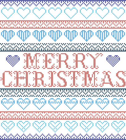 Merry Christmas Nordic style and inspired by Scandinavian cross stitch craft seamless Christmas pattern in red and white including  vary hearts elements and  decorative ornaments in red, blue