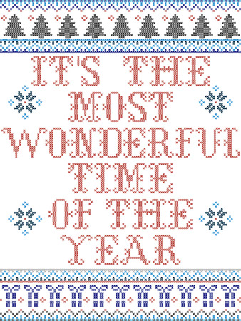 Its the most wonderful time of the year  Scandinavian style vector  pattern inspired by Nordic culture festive winter in cross stitch with heart, snowflakes, star,  snow, Christmas tree in red , blue 일러스트