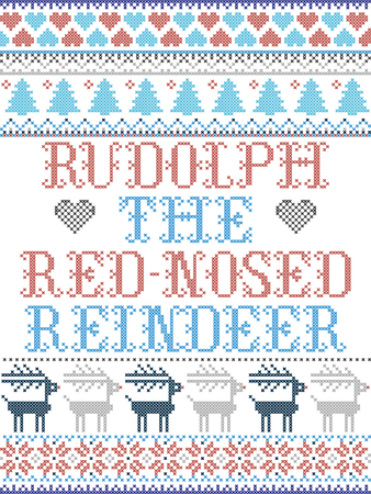 The red-nosed reindeer Scandinavian style vector  pattern inspired by Nordic culture festive winter in cross stitch with heart, snowflakes, star,  snow, reindeer, Christmas tree in red , blue, gray