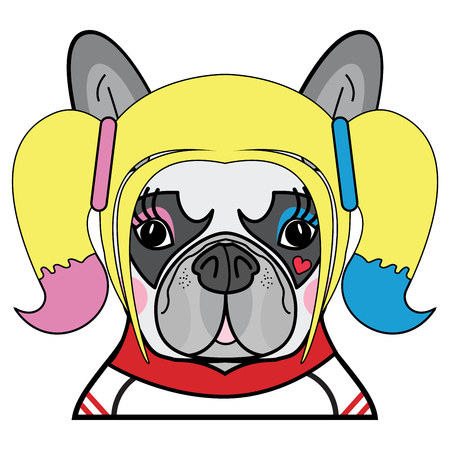 Kids style Cute French bulldog  Female Dog Superhero Comic character vector in color