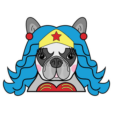 Kids style Cute French bulldog  Female Dog Superhero Woman Comic character vector in color 向量圖像
