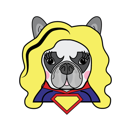 Girls room Kids style Cute French bulldog  Female Dog Superhero Woman Comic book character vector in color