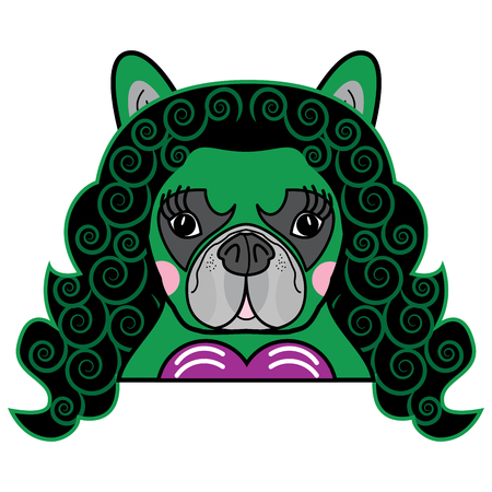Girls room Kids style Cute French bulldog  Female Dog Superhero SHE Comic book character vector in color Vettoriali