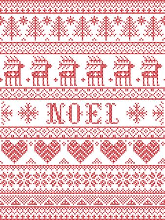 Simple Noel Christmas pattern with Scandinavian,  Nordic festive winter pasterns in cross stitch with heart, snowflake, snow, Christmas tree, reindeer, star, ornaments, in white and red,