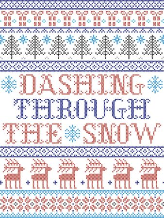 Dashing Through the Snow  pattern with Scandinavian, Nordic festive winter pasterns in cross stitch with heart, snowflake, snow, Christmas tree, reindeer, star, forest  in white and red, blue, gray