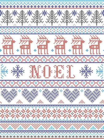 Simple Noel Christmas pattern with Scandinavian,  Nordic festive winter pasterns in cross stitch with heart, snowflake, snow, Christmas tree, reindeer, star, ornaments, in white and red, blue, gray Иллюстрация