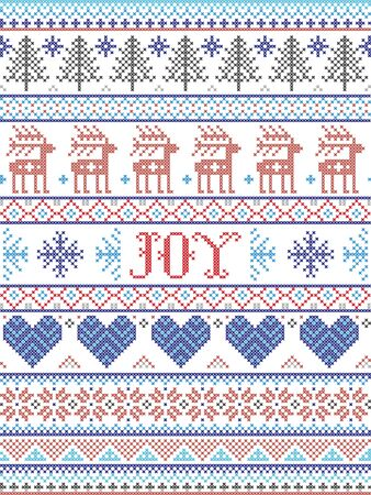 Simple Joy Christmas pattern with Scandinavian  Nordic festive winter pasterns in cross stitch with heart, snowflake, snow, Christmas tree, reindeer, forest, star, snowflakes in white,red, gray, blue