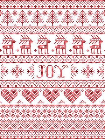Simple Joy Christmas pattern with Scandinavian  Nordic festive winter pasterns in cross stitch with heart, snowflake, snow, Christmas tree, reindeer, forest, star, snowflakes in white,red Illustration