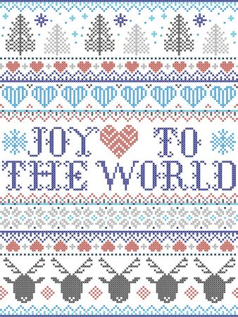 Joy to the World Christmas pattern with Scandinavian Nordic festive winter pastern in cross stitch with heart, snowflake,  Christmas tree, reindeer, forest, star, in white,red, gray, blue