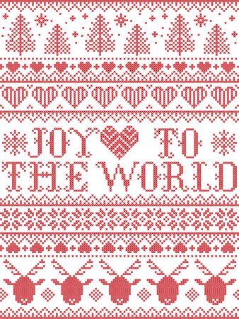 Motif de Noël Joy to the World avec paturon nordique festif d'hiver scandinave au point de croix avec coeur, flocon de neige, sapin de Noël, renne, forêt, étoile, en blanc, rouge,