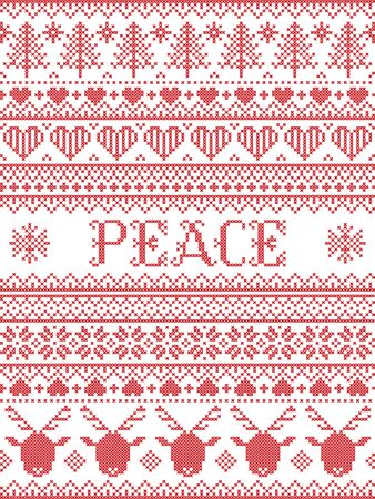 Peace Christmas vector pattern with Scandinavian Nordic festive winter pastern in cross stitch with heart, snowflake,  Christmas tree, reindeer, forest, star, in white,red