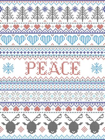 Peace Christmas vector pattern with Scandinavian Nordic festive winter pastern in cross stitch with heart, snowflake,  Christmas tree, reindeer, forest, star, in white,red, gray, blue