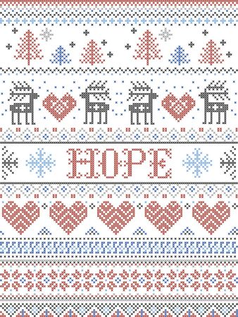 Hope Christmas vector pattern with Scandinavian Nordic festive winter pattern in cross stitch with heart, snowflake, Christmas tree, reindeer, forest, star, snowflakes in white,red, gray, blue 向量圖像
