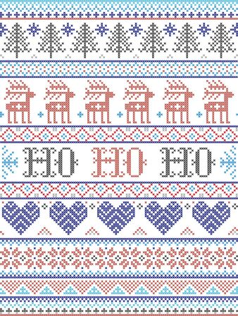 Ho Ho Ho  Christmas vector pattern with Scandinavian Nordic festive winter pattern in cross stitch with heart, snowflake, Christmas tree, reindeer, forest, star, snowflakes in white,red, gray, blue