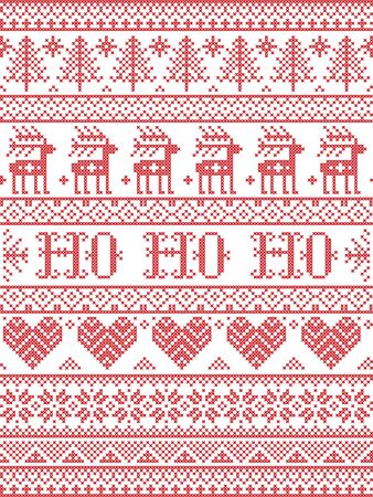 Ho Ho Ho  Christmas vector pattern with Scandinavian Nordic festive winter pattern in cross stitch with heart, snowflake, Christmas tree, reindeer, forest, star, snowflakes in white,red