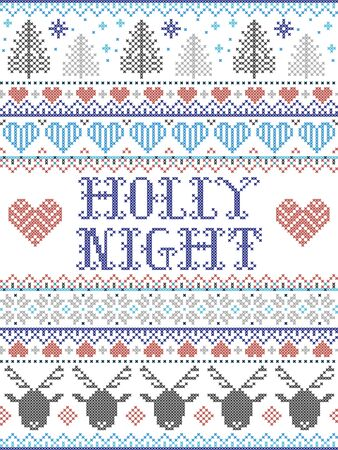 Holly Night carol lyrics Christmas pattern with Scandinavian Nordic festive winter pattern in cross stitch with heart, snowflake, Christmas tree, reindeer, forest, star, snowflakes in white, red, blue, grey