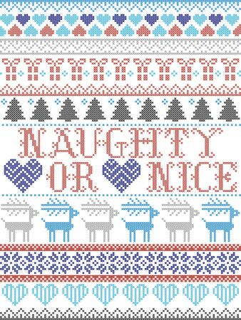 Sleigh Bell Ring carol lyrics Christmas pattern with Scandinavian Nordic festive winter pattern in cross stitch with heart, snowflake, Christmas tree, reindeer, forest, star, snowflakes in white, red, blue, grey