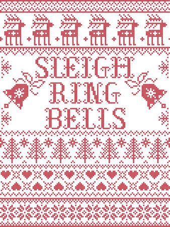 Sleigh Bells Ring carol lyrics Christmas pattern with Scandinavian Nordic festive winter pattern in cross stitch with heart, snowflake, Christmas tree, reindeer, forest, star, snowflakes in white, red 向量圖像