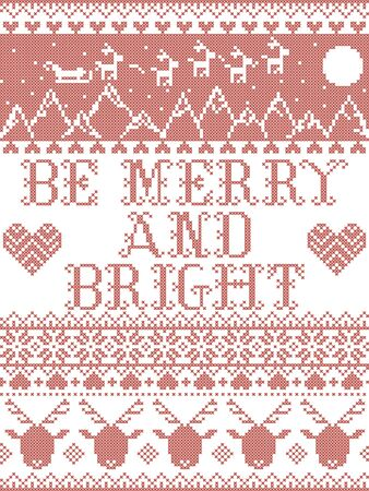 Scandinavian Christmas pattern inspired by Be Merry and Bright Carol lyrics festive winter elements  in cross stitch with heart, snowflake, Christmas tree, reindeer, star, snowflakes in white, red 向量圖像