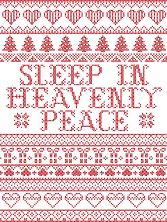Scandinavian Christmas pattern inspired by Sleep in Heavenly Peace Carol lyrics festive winter elements  in cross stitch with heart, snowflake, Christmas tree, reindeer, star, snowflakes in white, red