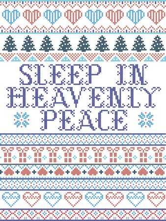 Scandinavian Christmas pattern inspired by Sleep in Heavenly Peace Carol lyrics festive winter elements  in cross stitch with heart, snowflake, Christmas tree, reindeer, star, snowflakes in white, red, blue, grey