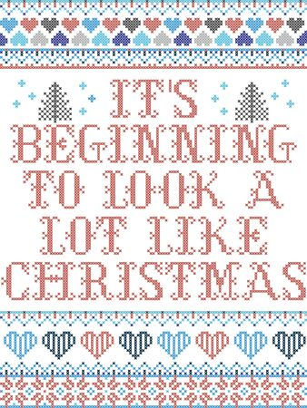 Scandinavian Christmas pattern inspired by Its beginning to look a lot like Christmas everyday carol festive elements  in cross stitch with heart, snowflake, Christmas tree, star, snowflakes in color