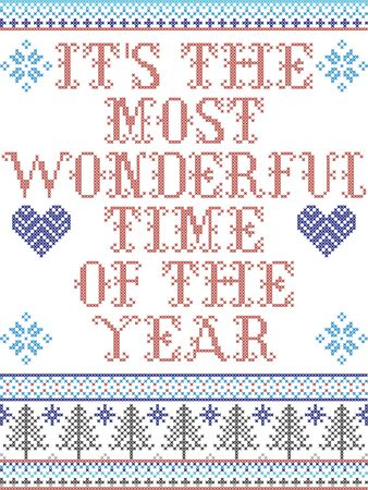 Scandinavian Christmas pattern inspired by It's the most wonderful time of the year carol festive elements  in cross stitch with heart, snowflake, Christmas tree, star, snowflakes in red, blue, whit