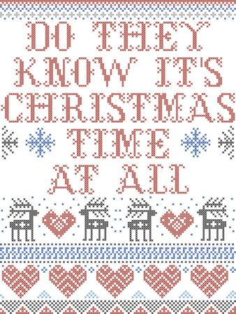 Scandinavian Christmas pattern inspired by Do They Know Its Christmas Time at all  carol festive elements  in cross stitch with heart, snowflake, Christmas tree, star, snowflakes in red, blue, white