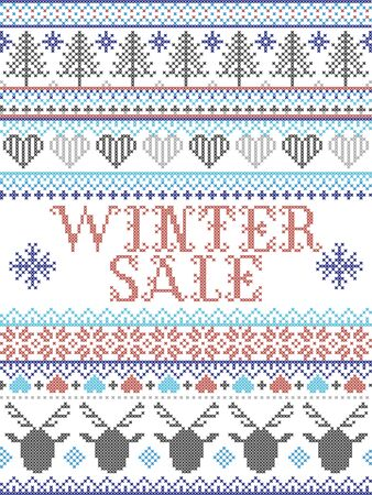 Winter Sale Scandinavian style illustration, inspired by Norwegian Christmas, festive winter pattern in cross stitch with reindeer, Christmas tree, heart, snowflakes, snow,star in red, white,blue, grey