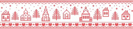 Scandinavian Christmas pattern including Nordic Winter Village : Church , house, cottages, town hall in cross stitch with heart, snowflake, snow, Christmas  tree, forest, ornaments, star in red, white