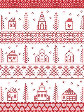 Patrón navideño escandinavo que incluye un paisaje navideño nórdico Winter Village: Iglesia, casa, cabañas, ayuntamiento en punto de cruz con corazón, copo de nieve, nieve, árbol de Navidad, bosque, adornos