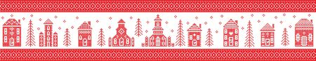 Rectangle Nordic Christmas pattern including Nordic Christmas scenery  Winter Village Church , house, cottages, town hall in cross stitch with heart, snowflake, snow, Christmas  tree, forest, stars in red