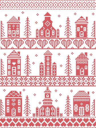 Scandinavian Tall  Christmas pattern including Nordic Christmas scenery  Winter Village Church , house, cottages, town hall in cross stitch with heart, snowflake, snow, Christmas  tree, forest, stars in red