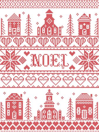 Noel Nordic Christmas pattern including Nordic Christmas scenery  Winter Village Church , house, cottages, town hall in cross stitch with heart, snowflake, snow, Christmas  tree, forest, stars in red Vettoriali
