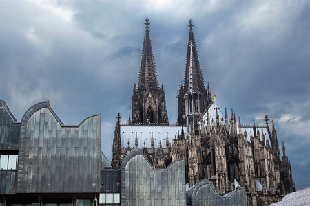 Detail of the great Gothic Cathedral in Cologne Stock Photo