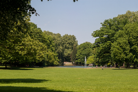 Beautiful park scene in the Volksgarten Park in Cologne, Germany