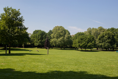 Beautiful park scene in public park with green grass field, green tree plant and blue sky Stock Photo
