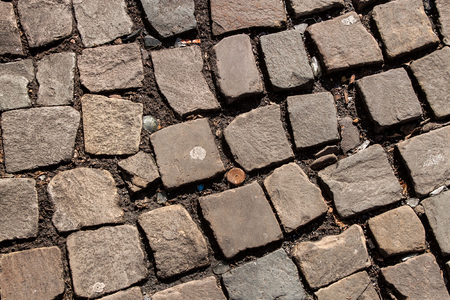 Abstract background of old cobblestone pavement close-up