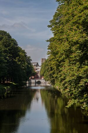 Beautiful Clarenbach canal in the district Lindenthal, it is part of the Lindenthal canal, , Cologne, Germany Stock Photo