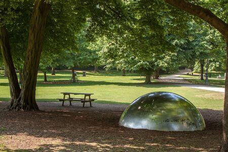 Beautiful park scene in the Volksgarten Park in Cologne, Germany