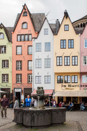 Cologne, North Rhine-Westphalia, Germany.April 2018.Colored houses in Fish Market Square, old city of Cologne, Germany Editorial