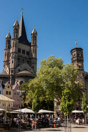 Cologne, North Rhine-Westphalia, Germany.June 2018.Church of Great St. Martin in old town, Cologne, Germany