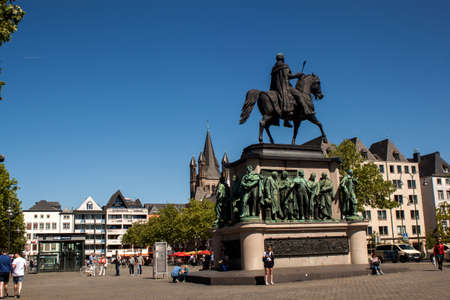 Cologne, North Rhine-Westphalia, Germany.June 2018.The equestrian statue of Friedrich Wilhelm III, King of Prussia stands on Cologne's Heumarkt square Editorial