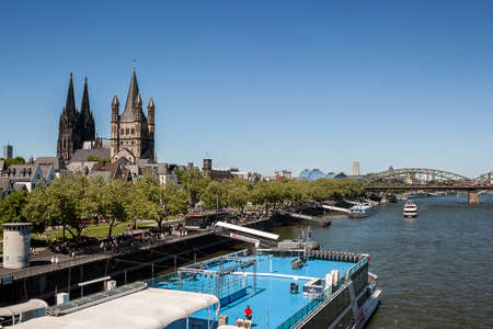Cologne, North Rhine-Westphalia, Germany.June 2018. The old town on the Rhine river in Cologne, Germany