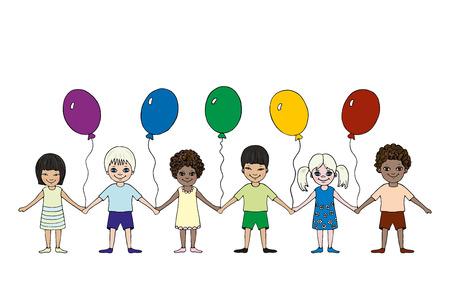Happy little children of different races hold hands. International Children's Day. Hand drawn. Standard-Bild - 122781246
